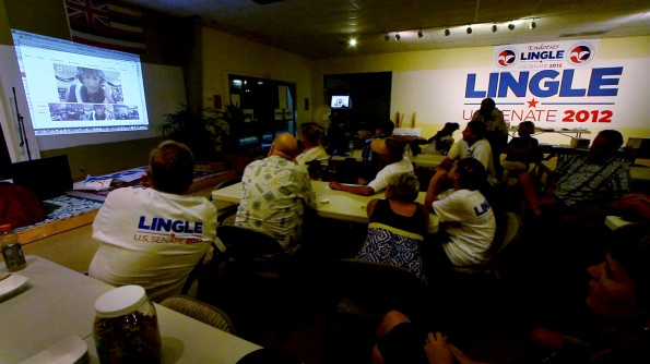 Supporters at LInda Lingle's campaign headquarters in Kona get a chance to videoconference with the candidate and other statewide headquarters for a post debate chat. Photography by Baron Sekiya | Hawaii 24/7