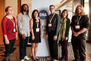 Winners of 2012 AP-Google Journalism and Technology Scholarship, from left, Emily Eggleston, Reginald James, Katie Zhu, Kevin Schaul, Rebecca Rolfe and John Osborn.