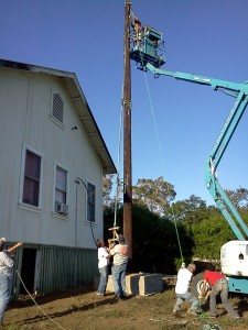 KAHU radio's antenna is reinstalled in at the station.