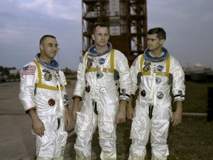 "On January 27, 1967, Apollo 1's crew--Virgil I. ""Gus"" Grissom, Edward H. White II and Roger B. Chaffee--was killed when a fire erupted in their capsule during testing. Apollo 1 was originally designated AS-204 but following the fire, the astronauts' widows requested that the mission be remembered as Apollo 1 and following missions would be numbered subsequent to the flight that never made it into space. Photo courtesy of NASA"