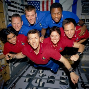 NASA and the world lost seven brave explorers on Feb. 1, 2003, when the shuttle Columbia broke apart during re-entry. In this photo from a roll of unprocessed film recovered by searchers, the STS-107 crew strikes a flying pose for their traditional in-flight crew portrait. Top row, from left: David M. Brown, mission specialist; William C. McCool, pilot; and Michael P. Anderson, payload commander. Bottom row, from left: Kalpana Chawla, mission specialist; Rick D. Husband, mission commander; Laurel B. Clark, mission specialist; and Ilan Ramon, payload specialist from the Israeli Space Agency. Photo courtesy of NASA