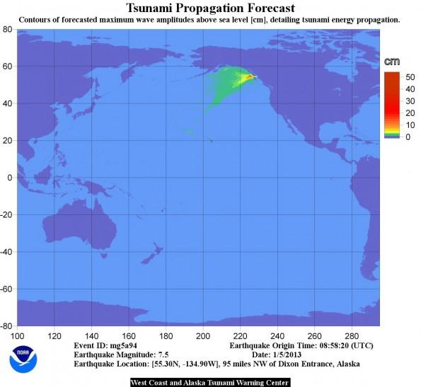 Tsunami energy map for 7.5 magnitude Alaska earthquake on Friday (Jan 4).