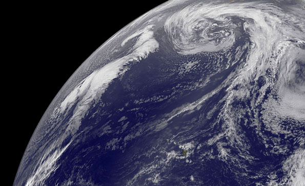 Image of Earth taken at 8 a.m. HST, January 31, 2013. Hawaii is in the lower center area. Click on image above for full-sized view. Image courtesy of NOAA-NASA GOES Project.