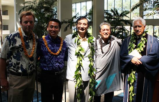 From left: Robert Grant, Mauna Lani Bay Hotel & Bungalows general manager; Takashi Yamakawa, Mauna Lani Resort (Operation) Inc. president; Hirofumi Nomoto, Tokyu Corporation president; Danny Akaka, Mauna Lani Resort (Operation) Inc. director of cultural affairs; and Kahu David  Kaupu. (Photo courtesy of Mauna Lani Bay Hotel)