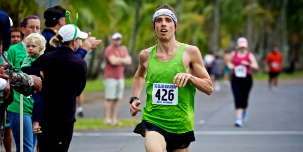 Sam Tilly of Alaska is the first finisher of the Big Island International Marathon.