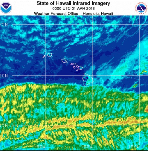 Infrared satellite image taken at 2 p.m. HST Sunday, March 31, 2013.
