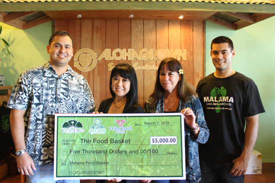 At Aloha Grown store in downtown Hilo, The Food Basket executive director En Young, Creative Arts Hawaii, vice president Connie Kurohara, Parker Ranch Store, manager Tracey Akau and Aloha Grown, manager Tyler Owens. (Photo courtesy of The Food Basket)