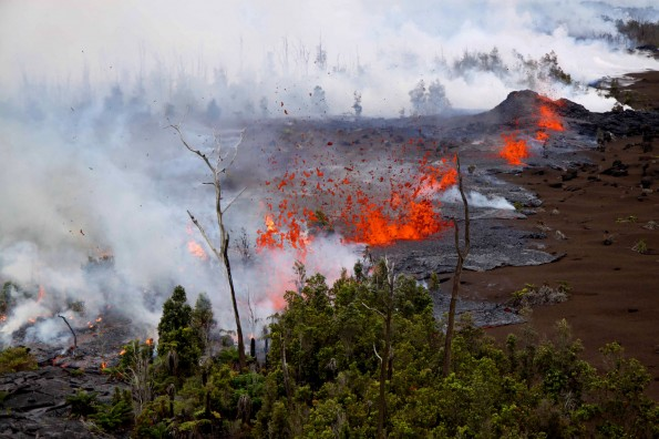 Lava spatters above the fissure just west of the base of Pu`u `O`o on March 6, 2011. Photo courtesy of USGS/HVO