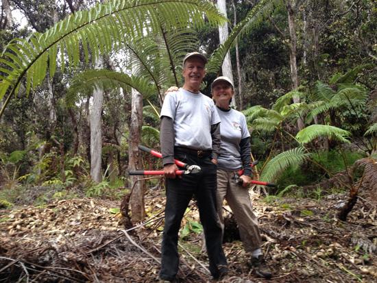 Paul and Jane Field, Hawaii Volcanoes National Park volunteers, on Halemaumau Trail. (Photo courtesy of NPA)