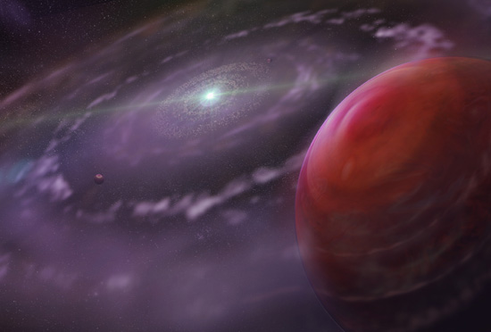 Artist's rendering of the planetary system HR 8799 at an early stage in its evolution, showing the planet HR 8799c, a disk of gas and dust, and interior planets. (Image courtesy of Dunlap Institute for Astronomy & Astrophysics | Mediafarm)