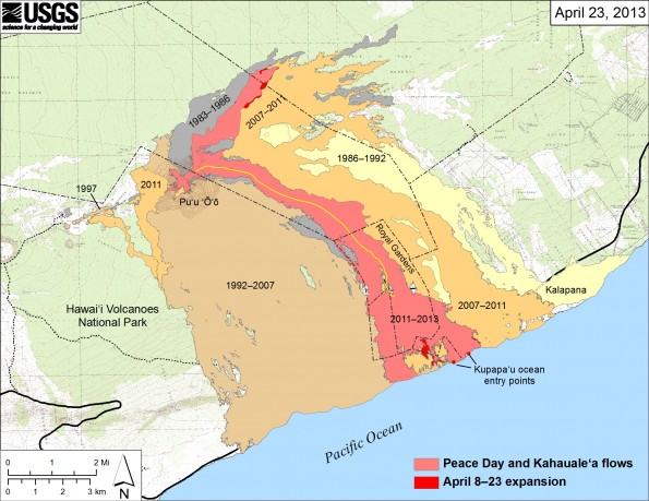 Map showing the active Peace Day flow, carrying lava to the ocean, and the inactive Kahaualeʻa flow northeast of Puʻu ʻŌʻō, as of April 23, 2013. Widening of both flow fields between April 8 and April 23 is shown in bright red, while the extent of the flow fields before April 8 are shown in pink. Older lava flows are labeled with the years in which they were active. Episodes 1–48b (1983–1986) are shown in gray; episodes 48c–49 (1986–1992) are pale yellow; episodes 50–55 (1992–2007) are tan; and episodes 58–60 (2007–2011) are pale orange. The Peace Day lava tube is shown by the yellow line. The contour interval for topographic lines shown on Puʻu ʻŌʻō is 5 m.