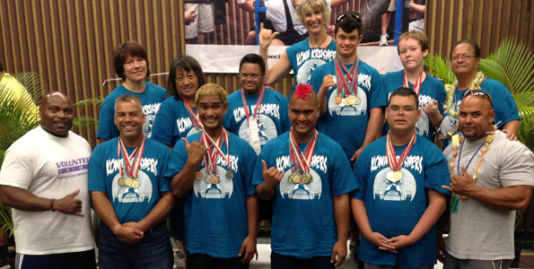 The West Hawaii Special Olympics powerlifters at the 2013 Hawaii State Summer Games, including Denise Lindsey (top row, far left). (Photo courtesy of Denise Lindsey)