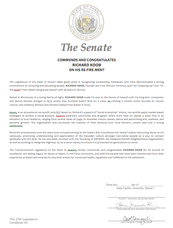 Senate certificate for Richard Koob's community  service