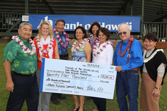 """Bank of Hawaii Foundation President Donna Tanoue (far right) presented the $25,000 Bank of Hawaii Monty Richards Hawaii Community Award that will be shared among three organizations. The three women in the center are: Hilo Medical Center Executive Director Lori Rogers; Friends of the Future – CHI-HI Project Director Dr. Sneha Sood; and Kona Hospital Treasurer Reba Silva. Members of the selection committee included KTA Superstore President Barry Taniguchi (far left), BOH Senior Vice President and Hawaii Regional Manager Art Taniguchi, BOH Senior Vice President and Hawaii Island Manager Roberta Chu (back, center), and Herbert """"Monty"""" Montague Richards, Jr. (Photo courtesy of Bank of Hawaii)"""