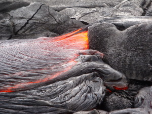 A close-up view of one of the many breakouts of pāhoehoe on the Kahaualeʻa 2 flow. Photo courtesy of USGS/HVO