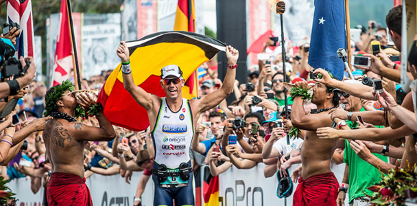 Frederik Van Lierde wins the 2013 Ironman World Championship. (Photo courtesy of Ironman)