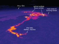 This thermal image shows the front of the Kahaualeʻa 2 flow. A narrow lobe at the very front is now inactive (evident by the slightly lower surface temperatures), while the main area of active surface flows (shown by white areas) are farther back from this leading edge. Photo courtesy of USGS/HVO