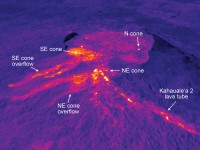 This thermal image shows Puʻu ʻŌʻō. Recently, the southeast and northeast spatter cones have produced small overflows out of the crater, shown clearly here by their warm temperatures. The vent for the Kahaualeʻa 2 flow is at the northeast spatter cone, and the lava tube supplying the Kahaualeʻa 2 flow is obvious as the line of elevated temperatures extending to the lower right corner of the image. Photo courtesy of USGS/HVO