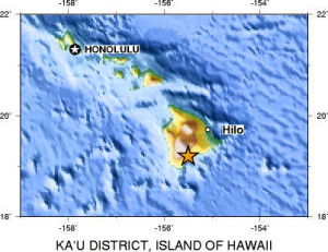 1868 Quake epicenter in Ka'u district.