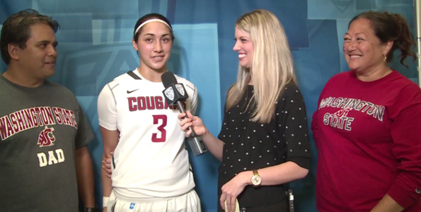 Kunia and Momi Galdeira join daughter Lia for an interview in Seattle. (Photo courtesy of Pac-12 Networks)