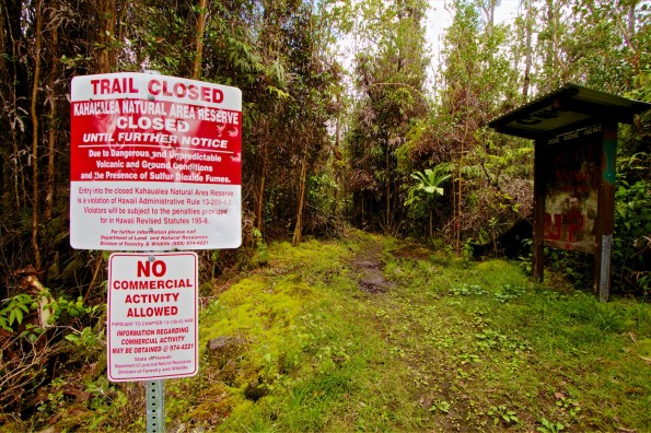 The Kahaualea Natural Area Reserve trailhead at the end of Captain's Drive/Ala Kapena Drive in Glenwood, Hawaii. Officially the trail is closed but hikers and hunters often enter the area. Hawaii 24/7 File Photo.