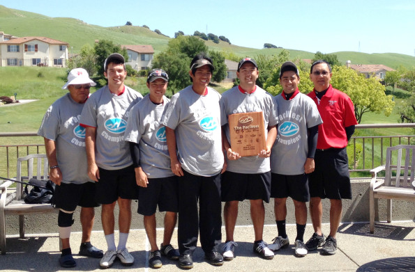 Head Coach Earl Tamiya, Kyeton Littel, Chris Shimomura, Dalen Yamauchi, Corey Kozuma, Christian Agosto and Assistant Coach Ron Takahashi. Photo courtesy of UH-Hilo