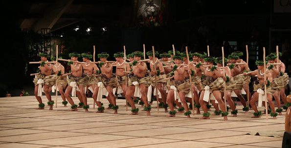 The kane of Ka Leo O Laka I Ka Hikina O Ka La. (Photo courtesy of Merrie Monarch)
