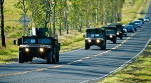 A military convoy heads up Waikoloa Road. Hawaii 24/7 File Photo