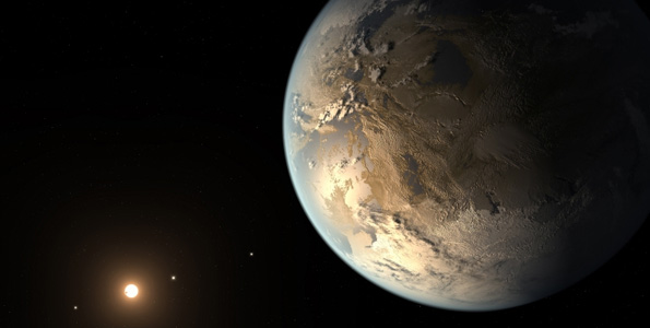 The artist's concept depicts Kepler-186f, the first validated Earth-size planet orbiting a distant star in the habitable zone — a range of distances from a star where liquid water might pool on the surface of an orbiting planet. The discovery of Kepler-186f confirms that Earth-size planets exist in the habitable zone of other stars and signals a significant step closer to finding a world similar to Earth. (Image courtesy of NASA Ames / SETI Institute / JPL-CALTECH)
