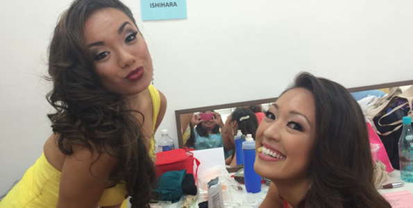 Jeanne Kapela and Alyssa Ishihara take a break backstage during rehearsals for the Miss Hawaii pageant. (Photo special to Hawaii 24/7)