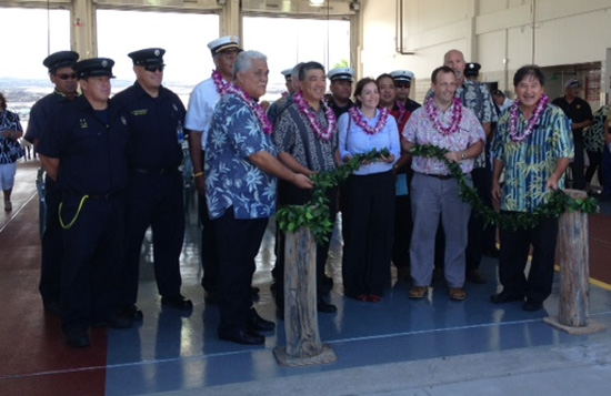 Dignitaries at the dedication of the new Aircraft Rescue and Fire-Fighting (ARFF) station at Kona International Airport. (Hawaii  24/7 photo by Karin Stanton)