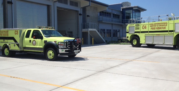 The new Aircraft Rescue and Fire-Fighting (ARFF) station at Kona International Airport. (Hawaii 24/7 photo by Karin Stanton)