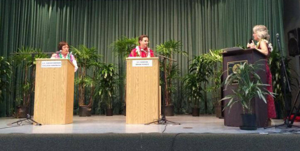 U.S. Congresswoman Colleen Hanabus, U.S. Senator Brian Schatz and moderator Sherry Bracken at the U.S. Senate candidate forum in Hilo Wednesday (July 2). Photography by Baron Sekiya | Hawaii 24/7