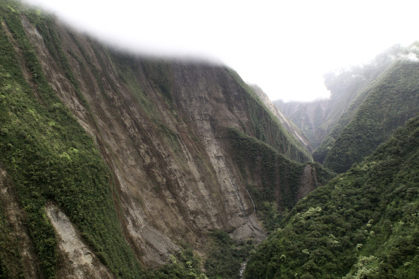 Landslides triggered by the magnitude-6.7 Kīholo Bay and magnitude-6.0 Māhukona earthquakes on October 15, 2006, stripped vegetation from the East Branch of Honokāne Nui Valley and extensively damaged the Kohala Ditch Trail that zigazags across the valley wall. USGS photo.