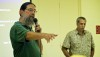 Jim Kauahikaua, Scientist in Charge at Hawaiian Volcano Observatory and Darryl Oliveira, Director of Hawaii County Civil Defense brief the audience Thursday (Aug 28) at the Pahoa Community Center on the progression and preparations in regards to the lava flow. Photography by Baron Sekiya | Hawaii 24/7