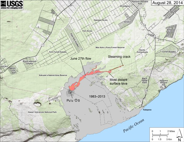 Map showing the June 27th flow in Kīlauea's East Rift Zone as of August 28, 2014. The area of the flow as mapped on August 27 is shown in pink, while widening and advancement of the flow as of August 28 is shown in red. All older lava flows (1983–2014) are shown in gray. The thin yellow line marks a portion of the lava tube feeding the flow. The only place where lava significantly widened the margin was at the most distant surface breakout, which was 8.6 km (5.3 miles) from the vent. The brown line at the far end of the flow marks the ground crack that channeled lava to the east, where it later emerged to form a new pad of lava. Yesterday, there was no surface activity there and no indication that lava was continuing to advance within ground cracks. This morning, however, steam was rising above a crack extending east beyond the end of the lava pad, suggesting that lava was once again advancing within a crack below ground. The most distant steaming area was 11.9 km (7.4 miles) from the vent and 2.6 km (1.6 miles) from east boundary of the Wao Kele o Puna Forest Reserve.