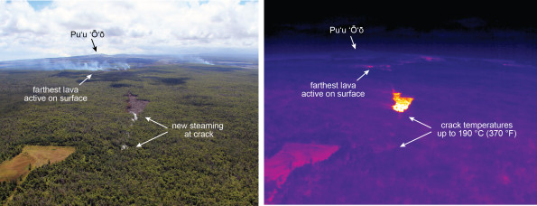 This figure compares the photo above with an equivalent view from a thermal camera on August 28, 2014. The plumes of smoke mark the farthest active lava on the surface (small, scattered lobes of pāhoehoe), which are also shown as small hotspots in the thermal image. The pad of lava that emerged from the ground crack earlier this week was inactive at the surface but still quite warm (high temperature patch in center of image). East of this pad of lava, steaming (just below the center of the photograph) has appeared over the past day, suggesting that lava is continuing to advance below the surface along a ground crack. Direct views into the crack were not possible due to thick vegetation, but close views of the steaming areas with the thermal camera reveal temperatures up to 190 C (370 F). These high temperature are further evidence of lava moving through the crack. Photos courtesy of USGS/HVO