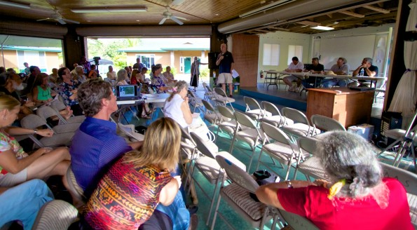 The start of the Puna Pono Alliance Geothermal Health Impact meeting while it was civil. Photography by Baron Sekiya | Hawaii 24/7