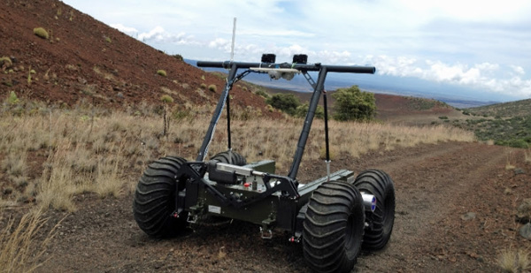 The PISCES Planetary Rover during a test run at one of the Center's planetary analogue test sites on Hawaii Island. (Photo courtesy of PISCES)
