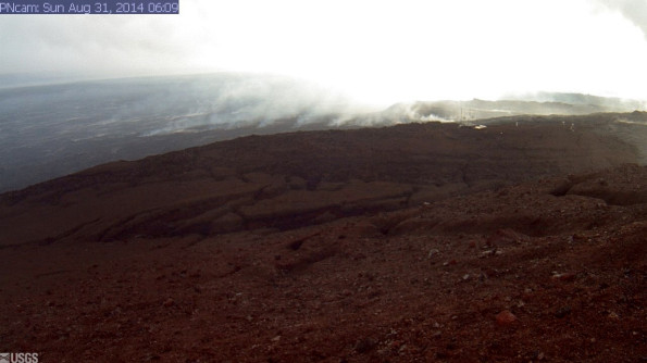 This image is from a research camera positioned on Puʻu ʻŌʻō, looking North. Image taken at 6:09 a.m., Sunday, August 31, 2014. Photo courtesy of USGS/HVO