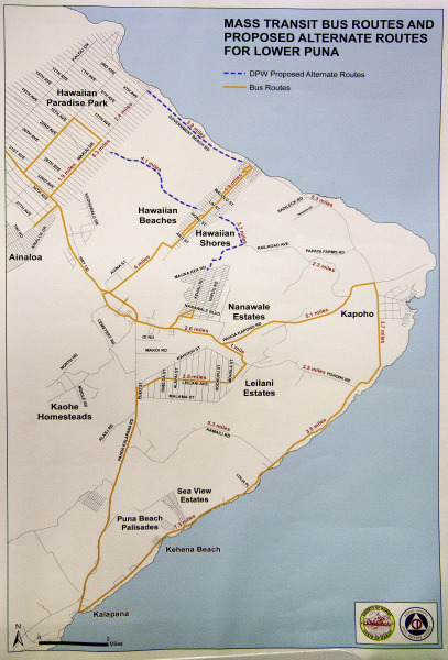 Hawaii County Mass Transit proposed routes. Displayed at the Lava Flow Informational Fair Saturday (Sept 13).