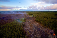 Looking downhill along the June 27 lava flow. Photography by Baron Sekiya | Hawaii 24/7, Air trasportation by Paradise Helicopters