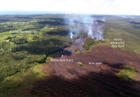 The leading edge of the June 27th flow stalled over the weekend, but active breakouts persist near the flow front, a short distance behind this stalled front. Today, lava was slowly advancing on a different front, along the north margin of the flow. The burn scar from a brush fire triggered by the lava this weekend covers much of the lower portion of the photograph. Photo courtesy of USGS/HVO