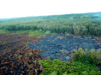 The stalled front of the Kilauea June 27th lava flow. Looking South towards Kaohe Homesteads. Photo taken Friday morning, September 26, 2014. Photograph courtesy of Hawaii County.