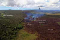 The June 27th lava flow remains active, with breakouts a short distance behind the stalled flow front on the afternoon of Monday, September 29, 2014. Photo courtesy of USGS/HVO