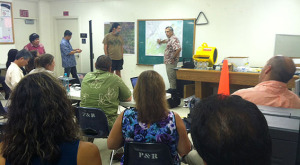 Hawaii County Civil Defense meets with Department of Education personnel to discuss the Kilauea June 27th Lava Flow. Photo courtesy of DOE
