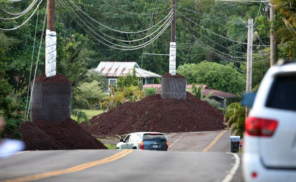 Hardended HELCO utility poles in Pahoa Town. Photo by Peter Sur, County of Hawaii