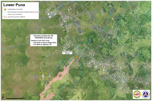 Kilauea June 27 Lava Flow map updated 6:30 a.m., October 30, 2014. Courtesy of Hawaii County Civil Defense