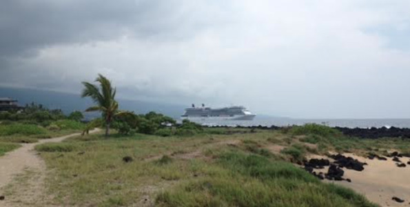 Celebrity Solstice in Kailua Bay. (Hawaii 245/7 photo by Karin Stanton)