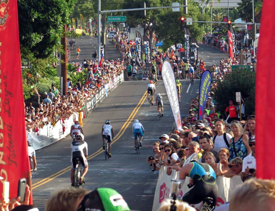 Cyclists head up Palani Road to start the cycling leg. (Photo special to Hawaii 24/7 by Chris Stewart)